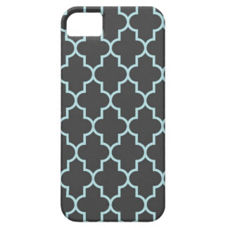 Graphite Grey and Turquoise Quatrefoil iPhone 5 Covers