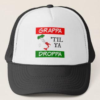 Grappa Til Ya Droppa Italy Flag Map Trucker Hat