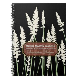 Grass Blossoms Decor Black Modern Notebook