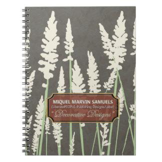 Grass Blossoms Decor Dark Modern Notebook