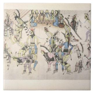 Grass dance (ink on paper) ceramic tile