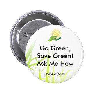 grass, GR_ICONO_LOGO, JoinGR.com, Go Green,Save... 2 Inch Round Button
