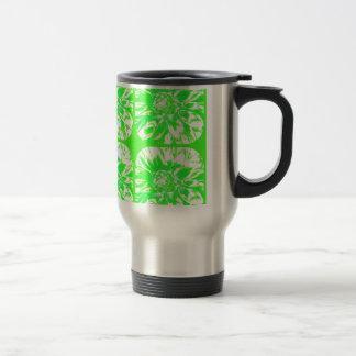 Grass Green Collage Dahlia Flower Pattern Travel Mug