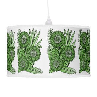 Grass Green Gerbera Daisy Flower Bouquet Pendant Lamp