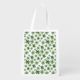 Grass-Green Lucky Shamrock Clover Reusable Grocery Bag