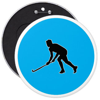Grass Hockey Player 6 Inch Round Button