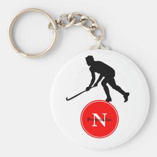 Grass Hockey Player Basic Round Button Keychain