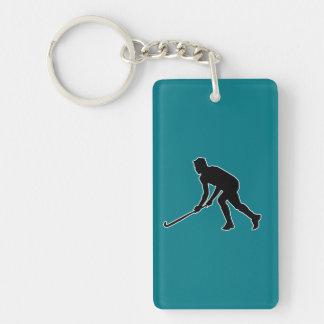 Grass Hockey Player Double-Sided Rectangular Acrylic Keychain