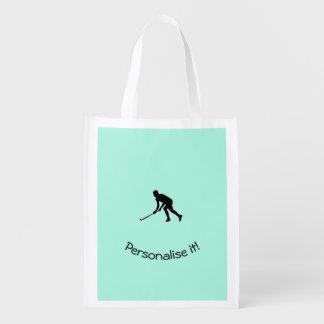 Grass Hockey Player Reusable Grocery Bag