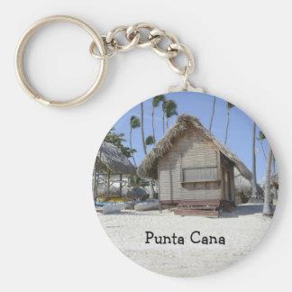 grass hut on a tropical beach keychain