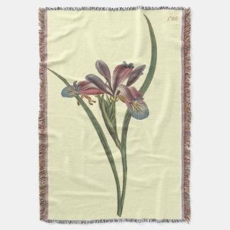 Grass Leaved Flag Iris Illustration Throw Blanket