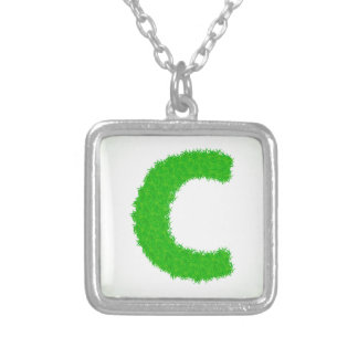 grass letter silver plated necklace