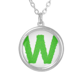 Grass Letter W Silver Plated Necklace