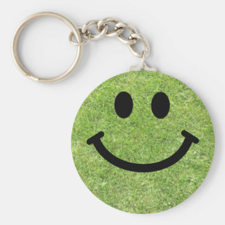 Grass Smiley Basic Round Button Keychain