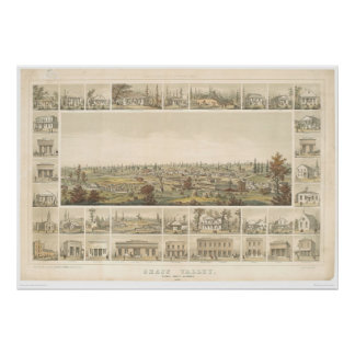 Grass Valley, CA. Panoramic Map 1858 (0663A) Poster
