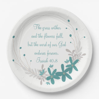 Grass Withers and the Flowers Fall Paper Plate
