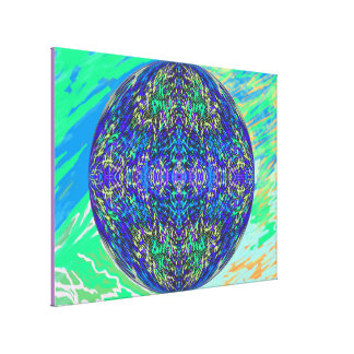 Grass World 2 Blue Yellow Globe Canvas Print