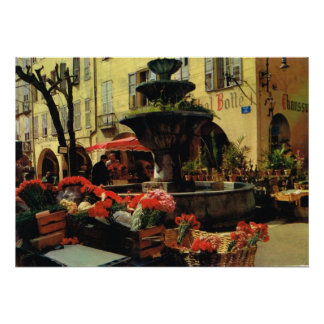Grasse market, fruit and fountain poster