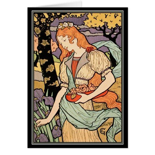 Grasset Art Nouveau Card:  Irises & Roses Card