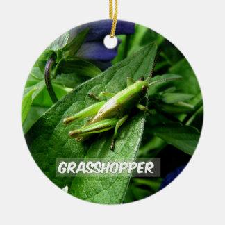 Grasshopper on leaf ceramic ornament