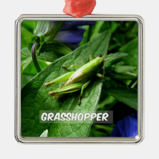 Grasshopper on leaf metal ornament