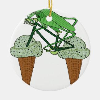 Grasshopper Riding Bike W/ Grasshopper ice cream Ceramic Ornament