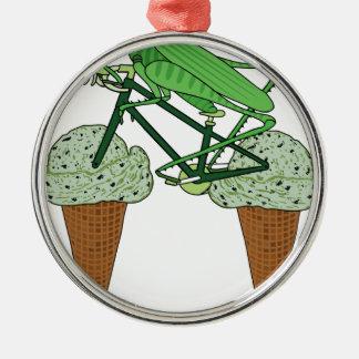 Grasshopper Riding Bike W/ Grasshopper ice cream Metal Ornament