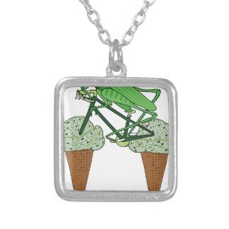 Grasshopper Riding Bike W/ Grasshopper ice cream Silver Plated Necklace