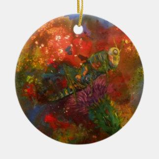 grasshopper round ceramic ornament