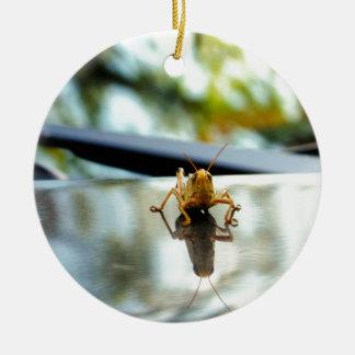 grasshopper stand off ceramic ornament