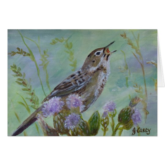 Grasshopper Warbler Irish Art Greeting Card
