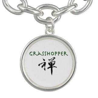 "Grasshopper with ""Zen"" symbol Charm Bracelet"