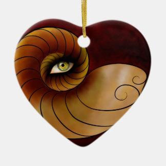Grassonius V1 - watching eye Ceramic Heart Ornament