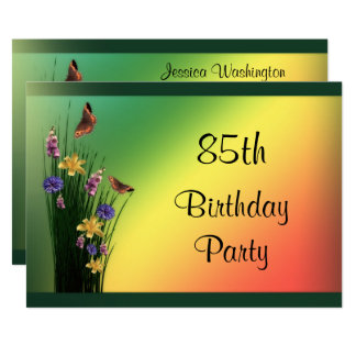 "Grassy Bouquet And Butterflies 85th Birthday 5"" X 7"" Invitation Card"