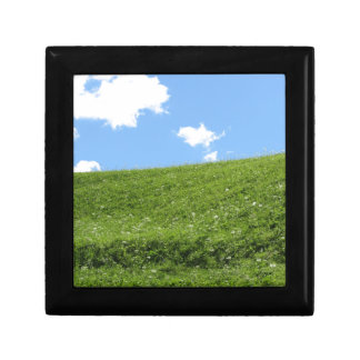 Grassy field at the rolling hill against the sky gift box