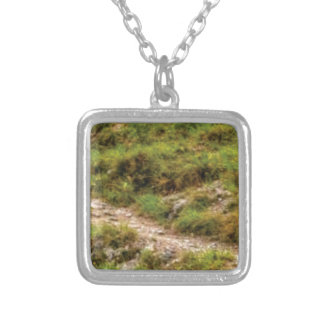 grassy path silver plated necklace