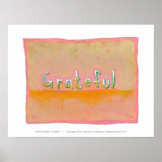 Grateful - colorful art of gratitude appreciation poster