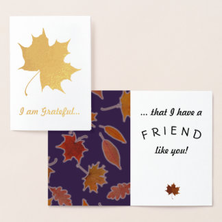 Grateful Friendship Autumn Leaves Custom Text Foil Card