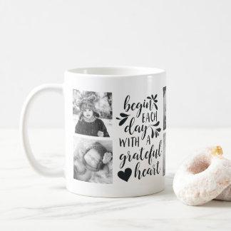 Grateful Heart Black and White Photo Mug