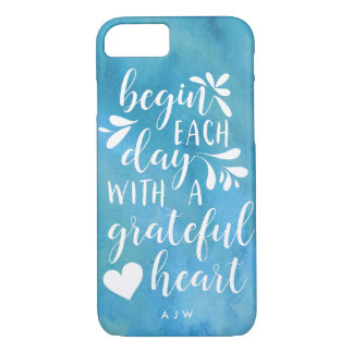 Grateful Heart Hand Lettered Typography | Monogram iPhone 8/7 Case