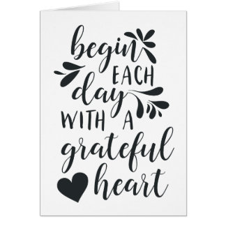 Grateful Heart   Hand Lettered Typography Quote Card