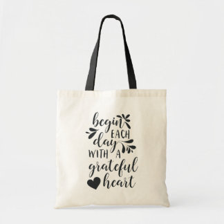 Grateful Heart | Hand Lettered Typography Quote Tote Bag