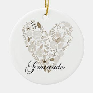 Grateful Heart Round Ceramic Ornament