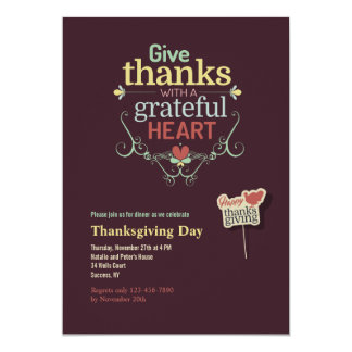 Grateful Heart Thanksgiving Invitation