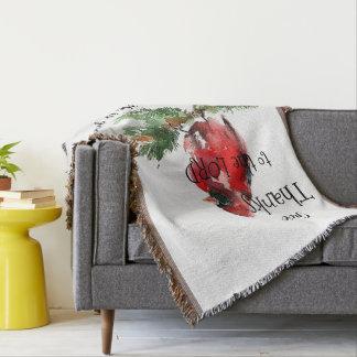 """Grateful Heart"" Watercolor Cardinal Throw Blanket"