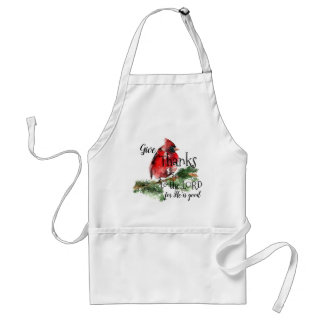 """Grateful Heart"" Watercolor Red Cardinal Apron"