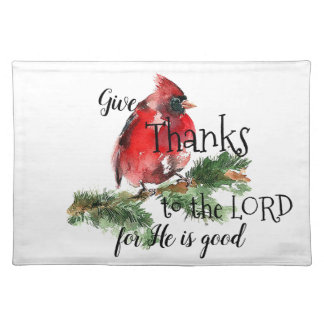 """Grateful Heart"" Watercolor Red Cardinal Place Mat"