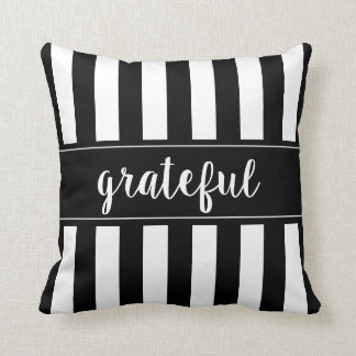 Grateful Striped Thanksgiving Throw Pillow