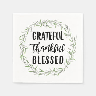 Grateful, Thankful, Blessed Disposable Napkins