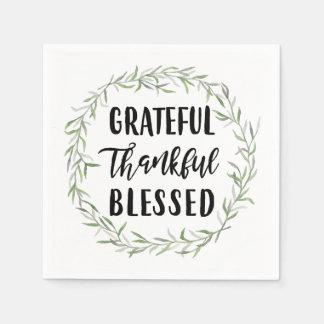Grateful, Thankful, Blessed Paper Napkin